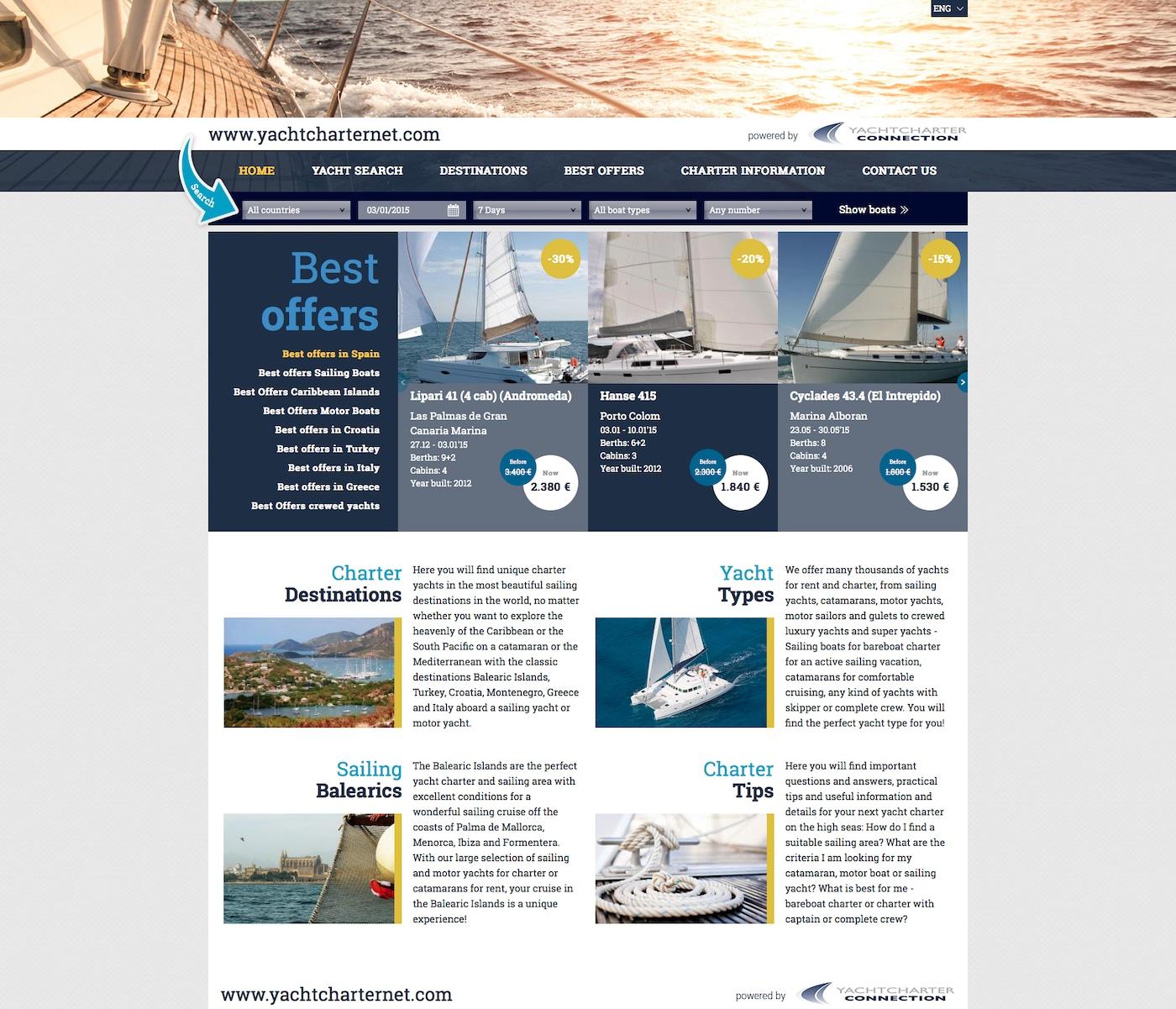 Yachtcharternet - Agentur für Yachtcharter