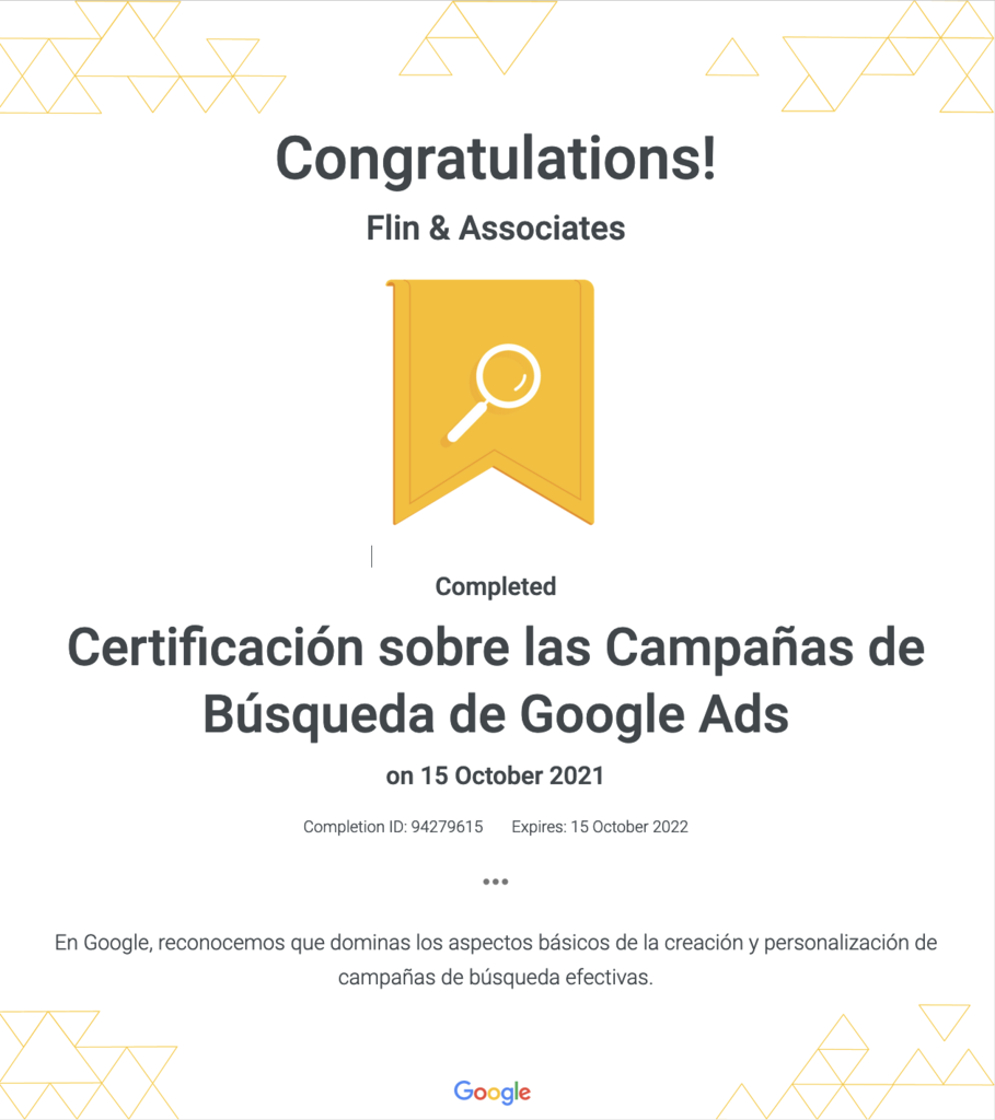 Certificación de Publicidad en Búsqueda de Google Ads